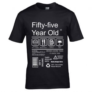 Premium Funny 55 Year Old Package Care Label Instructions Motif  55th Birthday Men's T-shirt Top